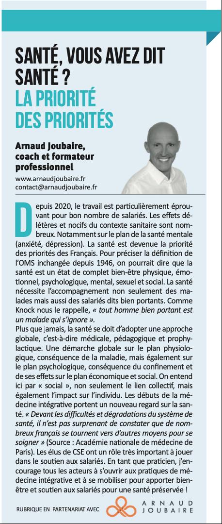 Arnaud Joubaire Santé au travail
